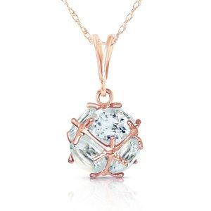 Galaxy Gold Products Jewelry - 14K. SOLID GOLD NECKLACE WITH NATURAL AQUAMARINES